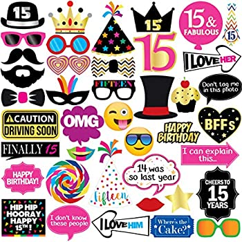 15th Birthday Photo Booth Party Props - 40 Pieces - Funny Kids Birthday Party Supplies Decorations and Favors