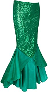 Nimiya Women's Sequins Mermaid Costume Halloween Party Cosplay Shiny Tail Maxi Skirts with Mesh Panel