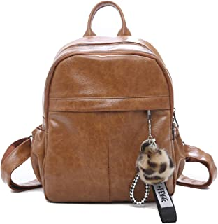 Fashion Women's Soft Face Pu Backpack, Mini Shoulders Bag, Multifunction Daypack Purse Bag for Girls Lady (Color : Brown, Size : 27 * 20 * 10cm)