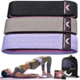 Resistance Bands for Legs and Butt, Workout Bands Wide Exercise Bands Fabric Booty Fitness Bands, Glute Bands for Women, Elastic Strength Squat Band, Non Slip (Purple, Gray, Black)