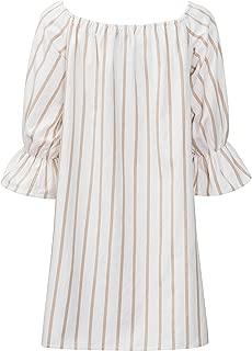 Women's Linen Off The Shoulder Stripes Dresses Casual 3/4 Sleeves Dress for Spring Summer