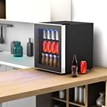 65 Watts Mini Refrigerator 60 Can Beverage with Glass Door, Size 17.5 inch x 18 inch x 19.5 inch, Temperature 39 – 61 Degree Fahrenheit perfect for Room Living, Playroom, Small Kitchen and Office
