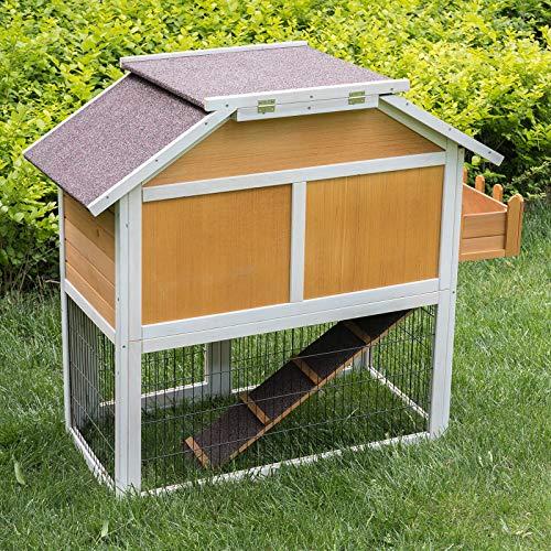 EUGAD Conejera de Exterior Madera Gallineros Casa/Jaula para Conejos Cobayas Hámster Casa para Animales Pequeños Impermeable con Bandeja 123,6 x 58 x 106 cm 0007TL