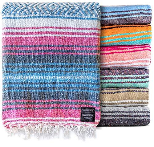 Mexikanische Decke, Falsa Decke | Authentische handgewebte Decke, Serape, Yoga-Decke | Perfekte Stranddecke, Navajo-Decke, Campingdecke, Picknickdecke, Satteldecke, Autodecke (Azur)