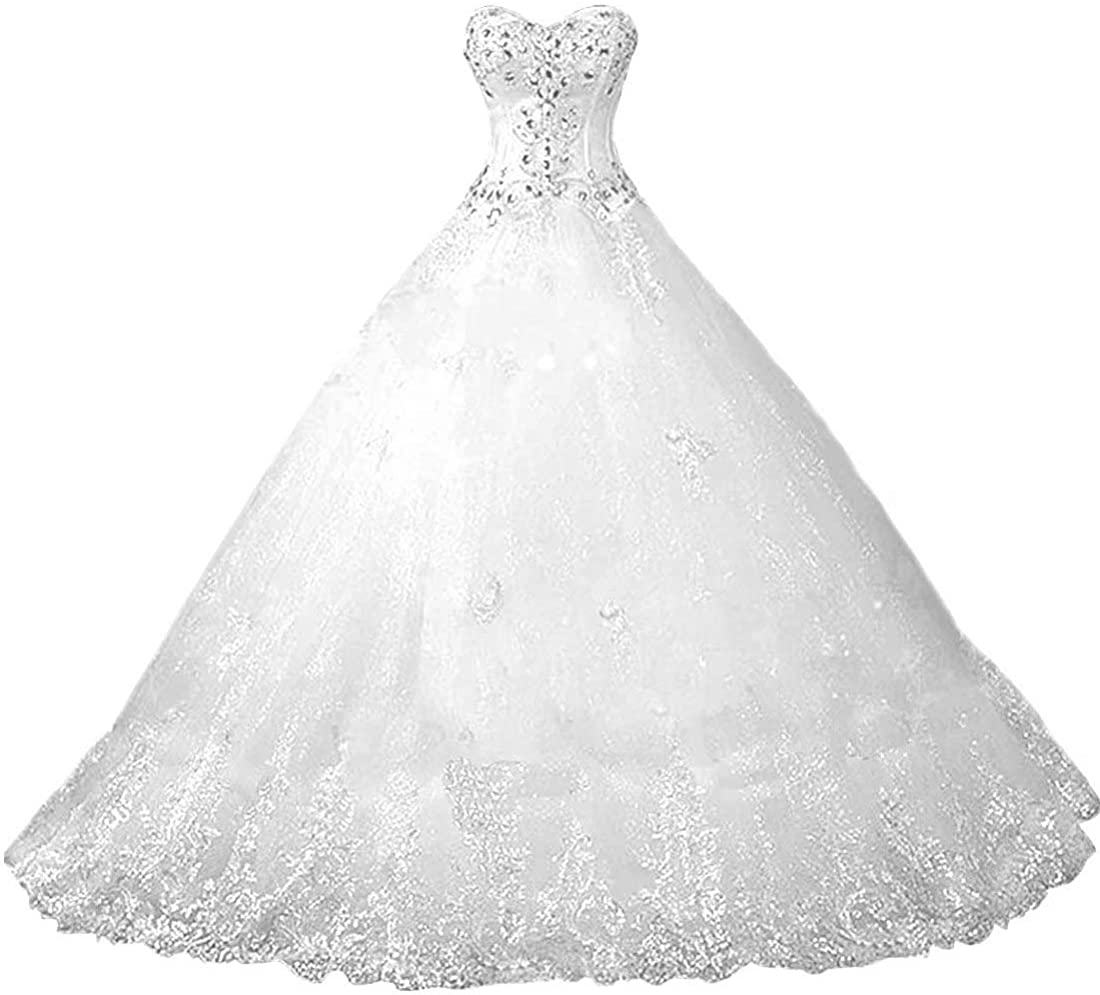Chady Sweetheart Lace Rhinestone Plus Size Wedding Dresses Ball Gowns 2021 Court Train Wedding Gowns Tulle Bridal Dress