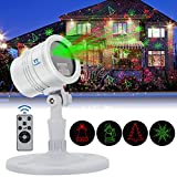 Christmas Laser Lights Projector Outdoor, Red & Green Laser Color with RF Remote Auto Timer,Tunnkit Waterproof Laser Lights for holiday Party,5 Lighting Patterns, Smart IC Protection