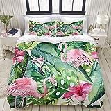 DK Star Bedding Juego de Funda de Edredón - Tropical Verano Floral Hojas Palma Pájaro Flamenco Rosado Hibisco Exótico - Microfibra Funda de Nórdico y Fundas de Almohada - (Cama 200 x 200cm)