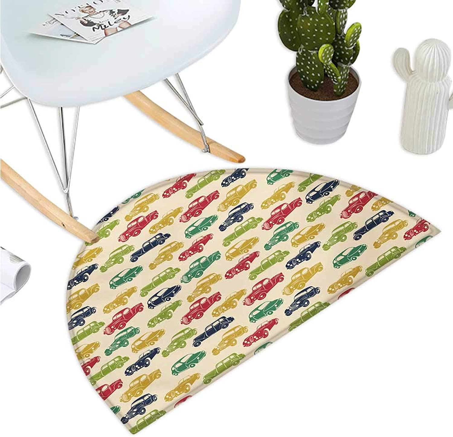 Cars Semicircular Cushion Various Vehicles with Curved Edges Vintage Car Designs from Fifties Bathroom Mat H 35.4  xD 53.1  Dark bluee Red Fern Green