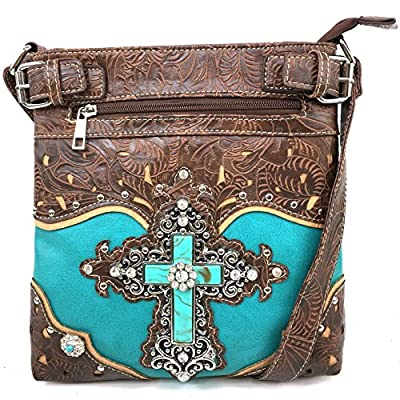 Justin West Tooled Leather Laser Cut Turquoise Rhinestone Cross Concho Studded Messenger Handbag with CrossBody Strap (Turquoise Messenger Only)