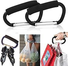 Pack of 2 Grocery Bag Holder Handle Carrier Tool Grip Your Tote,Handy Stroller Hooks, Multi Purpose Hooks, Pushchair Shopp...