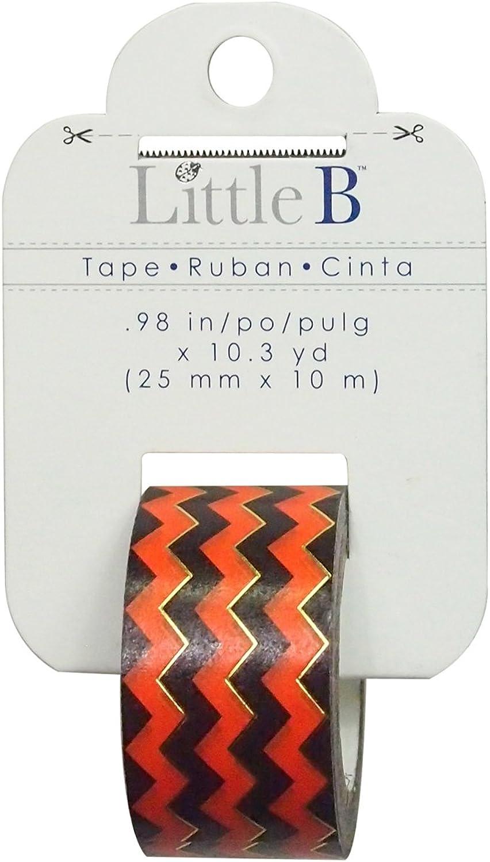 Little B 100781 Decorative Foil Paper Tape, Orange schwarz Chevron Gold Foil B011PJ5AC2     | Verschiedene Arten und Stile