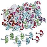 Botones de madera creativos 150 botones de dibujos animados encantadores lindos paraguas de madera ligero práctico DIY manualidades hechas a mano para coser accesorios de ropa