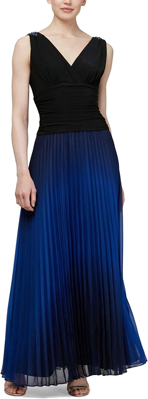 SLNY Women's Dress Blue Pleated Ombre V-Neck Gown Black 4