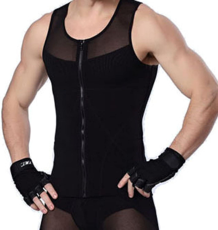 ChyJoey Hi Compression Compression Shirt for Men's Slimming, Zipper Tummy Control Shapewear Undershirt Light Body Shaper Vest