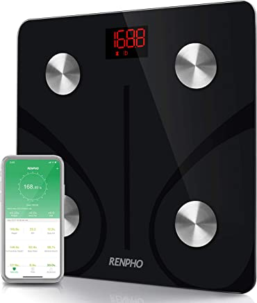 RENPHO Bascula con Bluetooth Digital Smart Peso Corporal Aplicación para Smartphone Capacidad 180 Kg Baño Color Negro