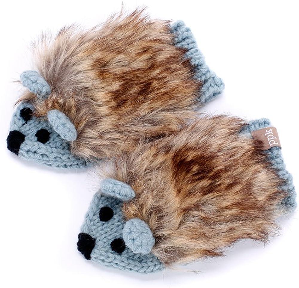Peppercorn Kids Girls' Faux Fur Hedgehog Mittens-Frost Blue-Sm (1-3y)