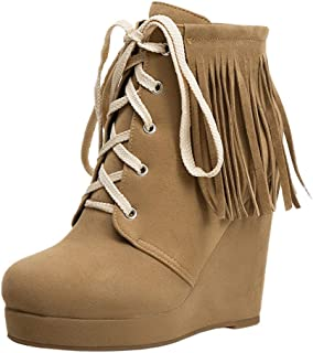 JOJONUNU Women Classic Fringe Boots