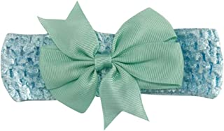1PCS Baby Girl Nylon Headbands Newborn Infant Toddler Lovely Lace Bow Elastic Force Hairbands and Bows Child Hair Accessories (Sky Blue)