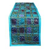 RAJRANG BRINGING RAJASTHAN TO YOU Camino de mesa de estilo vintage de Rajasthani – Mantel decorativo de lujo de mesa de café bordado a mano, mantel hippie de algodón, 40,6 x 172 cm, azul torquise