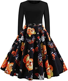 New Women'S Retro Round Neck Printed Long Sleeve Swing Dress Sexy Dress
