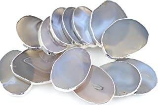 BOLIN 5 pieces Natural White/Grey Agate Slices Stone Slab Silver Rim Edge Plated - 2