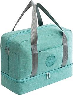 Weekender Bag Gym Tote Bag for Women Dry Wet Pocket with Shoe Compartment Waterproof Duffle Bag Overnight Bag Swim Bag (Light Blue)