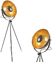Decoluce Modern Designer Reflector Studio - Black Gold Industrial Vintage Metal Adjustable Satellite Tripod Floor Lamp Mid Century Table Lights for Bedroom Living Room - E26 Edison Bulb No Included