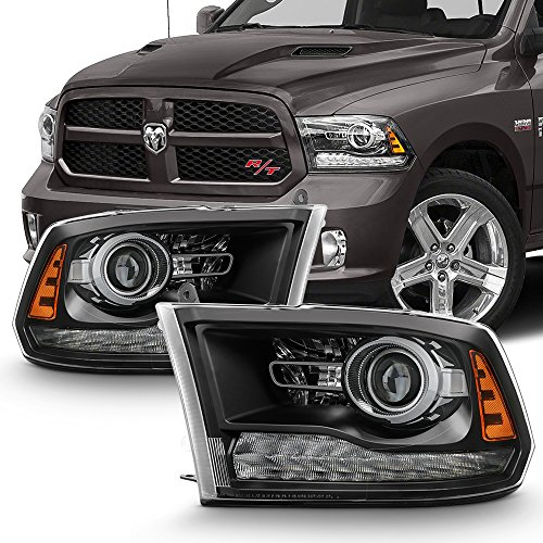 For 2013-2018 RAM 1500 2500 3500 OE Replacement Black LED Projector Headlights Left+Right Pair Set