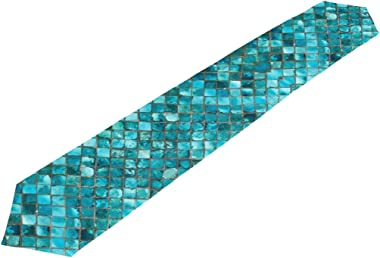 WOOR Double-Sided Teal Turquoise Blue Print Table Runner 13 x 70 Inches Long,Table Cloth Runner for Wedding Party Holiday Kit