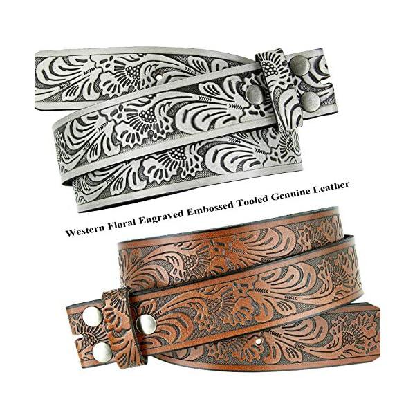 Western Floral Engraved Embossed Leather Belt 2