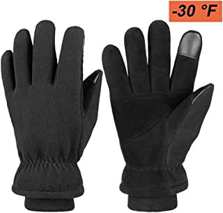 HiFon Zone Winter Gloves, Waterproof Warm Thermal Gloves with Touch Screen Fingers- Full Deerskin Suede Leather Palm & Polar Fleece Back for Men & Women for Driving Motorcycle Cycling