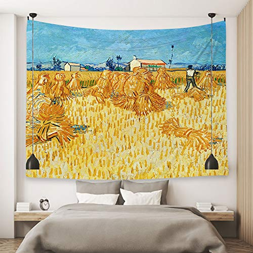 Ofat Home Van Gogh Artistic Masterpiece Autumn Farmland Oil Paintings Tapestry Wall Decor 59''x78.7'', Fabric Decor for Home College Dorm Best Gift Choice