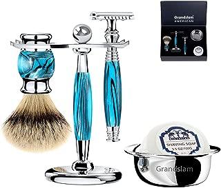 Luxury Shaving Gift Set Safety Razor Shaving Brush Stand for Men Grooming Set for Father's Day/Business Gift/Boyfriend/Husband Grandslam, Silver