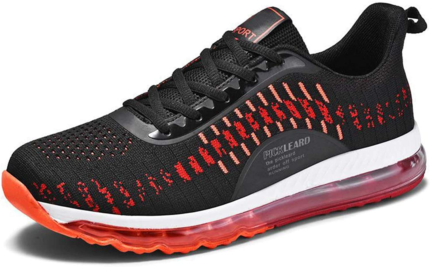 Y-H Men's Casual shoes,Spring Comfort Breathable Sneakers, Academy Student Running shoes Walking Gym shoes,blackred,46