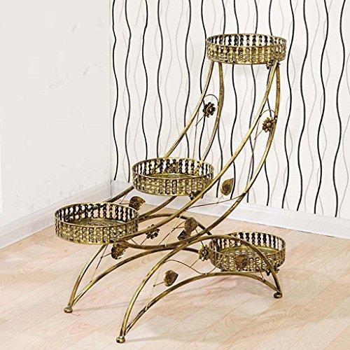 Ali@ Le style européen de supports de fleur multicouche assemblent le salon le balcon est simple étagère de bonsaï (Couleur : Bronze, taille : 80 * 27 * 76cm)