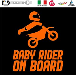 cm 15 ERREINGE Sticker BABY RIDER ON BOARD ARANCIO FLUO Adesivo prespaziato in PVC per Moto Motocross Scooter Bike Casco Vespa