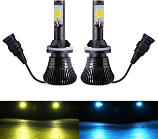 880 881 Fog Light Bulb LED Amber Yellow 3000K Ice Blue 8000K Dual Color for Trucks Cars Lamps DRL Daytime Lights Kit Replacement Bulbs 12V 30W 2800LM Super Bright COB Chips 1 Year Warranty【1797】