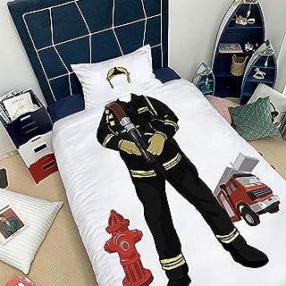 Drap Housse De Couette 220X240 3 Pièces Housse Couette Enfants Adolescents Ensemble Housse Couette Imprimé Pompier Ensembl...
