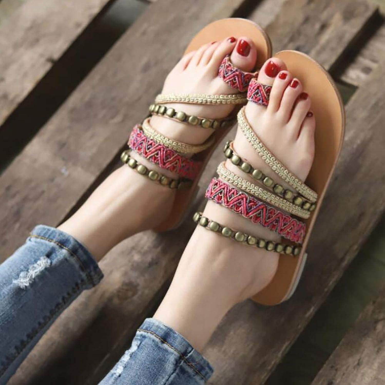Beach shoes for Women, Flat shoes for Women color Bohemian Ethnic Style Comfortable Beach Sandals Plus Size