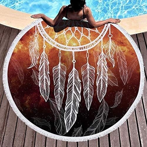BCDJYFL 3D Print Strandtuch Feather Dream Catcher Mikrofaser-Strandtuch Übergroß Schnelltrocknend, Sehr Saugfähig, Mehrzweck-Badehandtuch Für Damen Und Herren.-Durchmesser: 150Cm