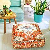 Mandala Life ART Boho Chic Yoga Décor Housse de Coussin de Sol - 60x20 cm - Taie d'oreiller Tapis de Déditation Carrée - Décoratif Pouf Tapis en Coton imprimé