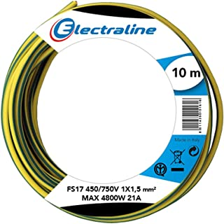 Electraline Unipolar Cable 13101FS17, Section 1x 1.5mm², Yellow/Green, 10M