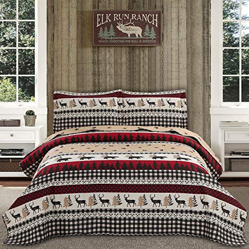 Rustic Quilt Bedding Queen/Full Size Lodge Country Quilt Lightweight Home Bedspread Cabin Black White Plaid Quilt Coverlet Bed Set Forest Moose Bear Print Bedding Plaid Bedspreads Reversible Bedding