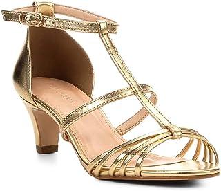 Sandália Shoestock Salto Grosso Tiras Feminina
