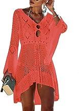 SINNODA Strandkleider Damen Strickkleid Sommerkleider mit Ärmel Badeanzug Kleid Strandtunika Sommer Strand Beach Kleider Strandponcho Crochet Bikini Cover Up Häkelkleid