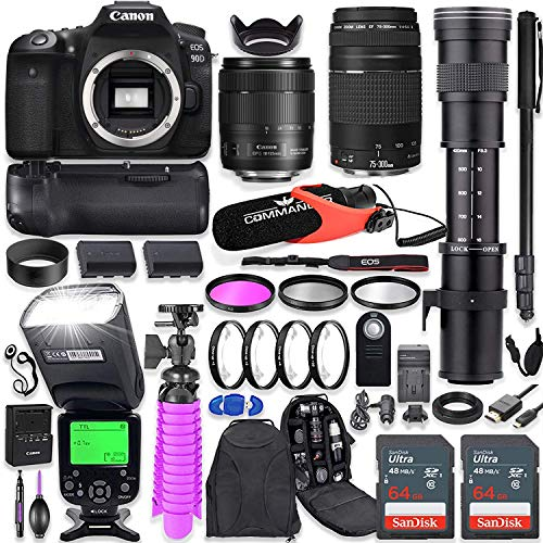 Canon EOS 90D DSLR Camera Kit with Canon 18-135mm & 75-300mm Lenses + 420-800mm Telephoto Zoom Lens + Battery Grip + TTL Flash (Upto 180 Ft) + Commander Microphone + 128GB Memory + Accessory Bundle