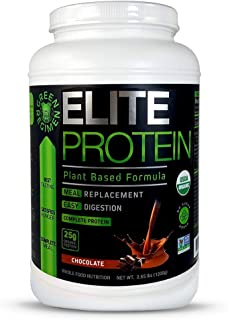 Elite Protein - Organic Plant Based Protein Powder, Chocolate, Pea and Hemp Protein, Muscle Recovery and Meal Replacement ...
