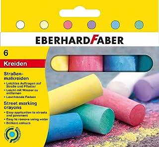 Eberhard Faber 526506 - kreda uliczna w 6 żywych kolorach, w kartonowym etui, dla kolorowej zabawy na asfalcie, ulicach i ...