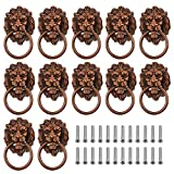 WMYCONGCONG Lion Head Drawer Pulls, 12 PCS 2.04' x 3.58' Metal Antique Wardrobe Pulls Handle Retro Kitchen Cabinet Knobs and Ring Pulls for Dresser Drawer Jewelry Box (Red Bronze)