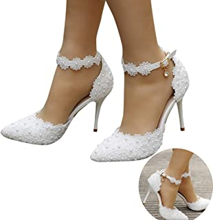 Woman Bridal Shoes Pearl Lace Floral Embroidery Stiletto Comfy Heel Lace Satin Pumps Satin Flower Net Yarn Wedding Party Shoes
